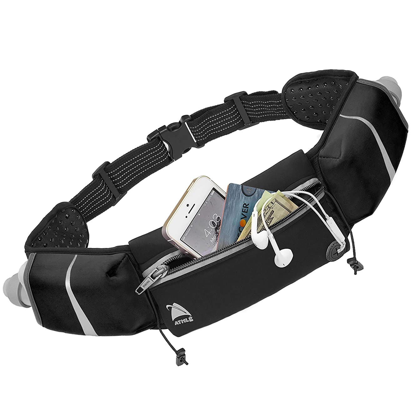 Athlé Running Belt - 2 10oz Water Bottles, Large Fanny Pack Pocket Fits All Phones and Wallet, Bib Fasteners, Adjustable One Size Fits All Waist Band, Key Clip, 360° Reflective