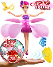Akargol Flying Fairy Doll - Magic and Best Gift for 6 Year Old Girl Kids Toy - Infrared Induction and Remote Control Toys - Birthday Present for 3-4-5-7-8-9 Ages Children(2 Spare Wings)