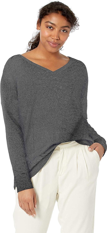 Amazon Brand - Daily Ritual Women's Oversized Terry Cotton and Modal V-Neck Drop-Shoulder Sweatshirt