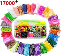 Rainbow Loom Rubber Bands Refill Kit 16000 Assorted Loom Rubber Bands-300 S-Clips, 2 Y Looms,Letter Pony Beads,Charms backpack Hooks,Loom Bands Bracelet Making Kit For Kids Girls Favors Prizes