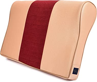 FABROYAL INDIA Cervical Memory Foam Pillow Double Contour Premium Medical Grade Universal Size ( Brown&Maroon)