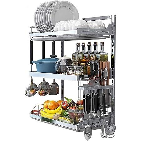 Séchoir à vaisselle de cuisine, Étagère à vaisselle murale en acier inoxydable, étagère de rangement de l'organisateur de cuisine de 3 niveaux, porte-vaisselle suspendue avec égouttoir de vaisselle