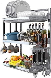 Séchoir à vaisselle de cuisine, Étagère à vaisselle murale en acier inoxydable, étagère de rangement de l'organisateur de ...
