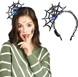 Halloween Spider Web Headband with LED Light, VIRIITA Spider Headband Hair Hoop Cosplay Devil Headband for Women, for Halloween Decorations Party Supplies