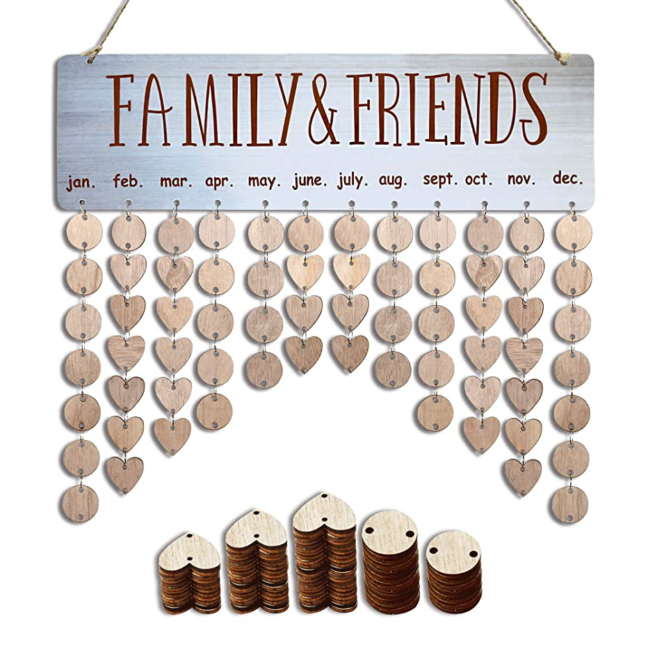 YuQi Wooden Family Birthday Organizer Board Wall Hanging,DIY Perpetual Calendar to Remember Important Days,Family Friends Birthday Tracker Plaque with Tags for Wall Decor or Mom Dad Personalized Gifts