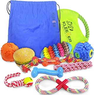 KLEEGER Dog Toy Set: Durable 10-Pack Puppy Toy Package with Storage Bag, Top Interactive Puppy Chewing & Teething Toys/Keep Your Dog Active & Happy Indoors & Outdoors (Squeaky Mix)