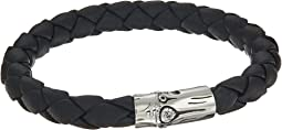 Bamboo 8mm Station Bracelet in Black Leather
