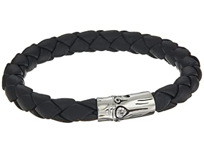 John Hardy Bamboo 8mm Station Bracelet in Black Leather (Silver) Bracelet