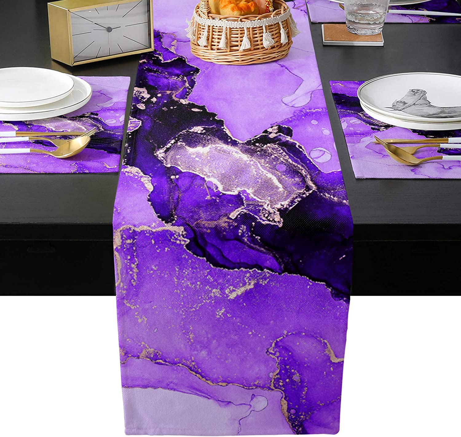 Edwiinsa 新作 人気 Table Runner with ふるさと割 Placemats Set 6 Ink Purp of Painting