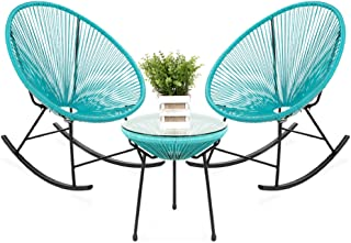 Best Choice Products 3-Piece All-Weather Patio Woven Rope Acapulco Bistro Furniture Set w/Rocking Chairs, Table - Blue