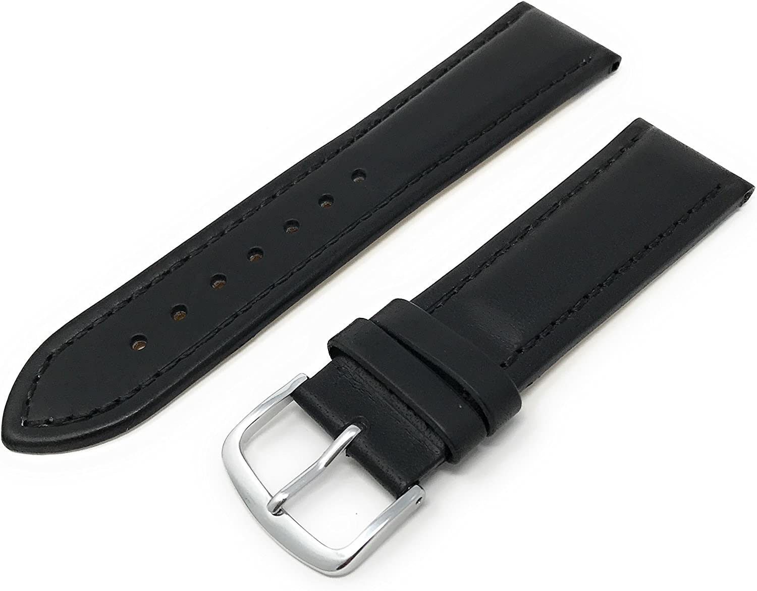 Mens Genuine Italian Leather Max 68% OFF Year-end annual account Watchband Chronograph Style 2 Black