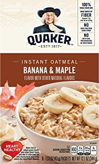 Quaker Instant Oatmeal Breakfast Cereal, Banana and Maple, 12.1 Ounce