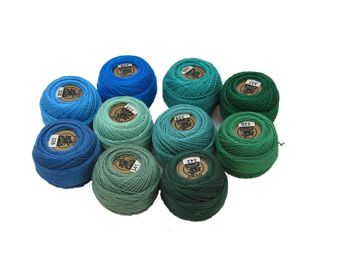 Vog Perle Cotton Size 8 Embroidery Threads - Set of 10 Balls (10gr Each) - Blue and Green Shades (column No. 5)