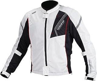 コミネ(KOMINE) バイク用 プロテクトフルメッシュジャケット シルバー/ブラック L JK-128 1154 春夏向け CE規格 メッシュ素材 プロテクター