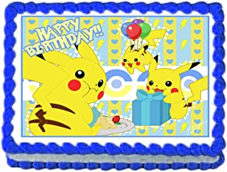 Pikachu Pokemon Birthday Party Edible image/Cake Topper 1/4 sheet Frosting by cakedeco