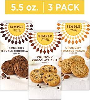 Simple Mills Crunchy Cookie Variety Pack: Chocolate Chip (1), Double Chocolate Chip (1), and Toasted Pecan (1), 3 count
