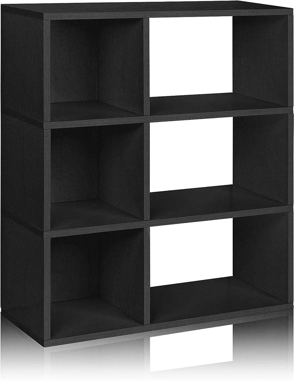 Way Basics WB-3SWRC-BK 3 Shelf Sutton Bookcase and Cubby Storage, Black