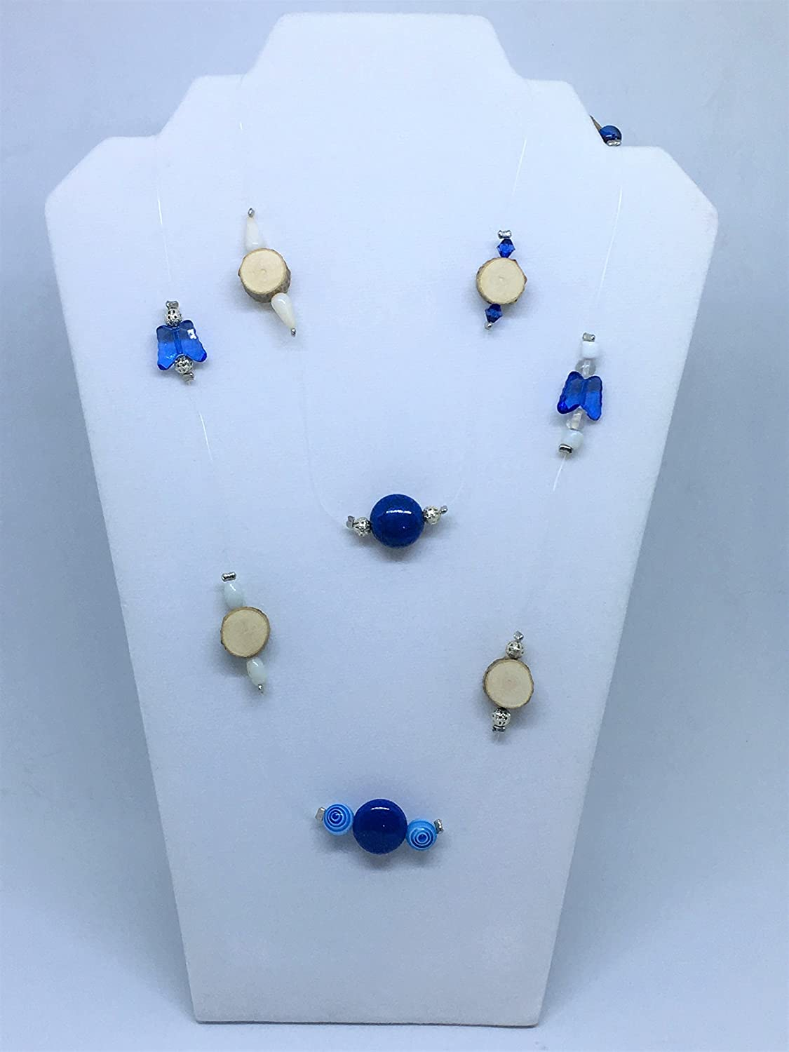 Long Strand Necklace Wood Slice Blue Nature Beaded Jewelry Max 68% OFF Outlet ☆ Free Shipping J