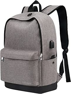 Backpack, Water Resistant School Backpack with USB Charging Port for Women Men, Canvas College Student Rucksack Fits 15.6 Inch Laptop and Notebook, Daypack for Travel Outdoor Camping - Grey