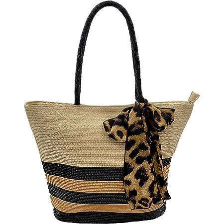 Shopper Leo // Tasche mit Leopardenmuster, Leoparden Tragetasche, Leopard Herbsttasche, Animal Print Strohtasche, Strandtasche