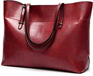 Efuly Womens Soft Leather Handbags Large Capacity Retro Vintage Top-Handle Casual Tote Shoulder Bags