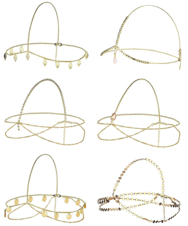 Jstyle 6Pcs Gold Head Chain Jewelry for Women Bridal Bohemian Halloween Headband Hair Headpiece