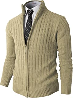H2H Mens Casual Slim Fit Cardigan Long Sleeve Cable Knitted Cardigan Sweater Jacket