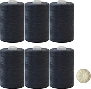 6 Pack Black Sewing Thread - Total 6000 Yardwith Free Set of1 Thread Wax
