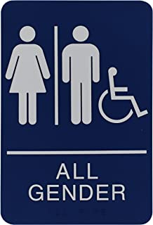 Headline Sign All Gender Restroom Sign with Wheelchair, 6 x 9 Inches, ADA, Blue and White (9487)