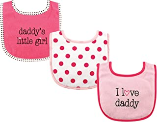 Luvable Friends Unisex Baby Cotton Drooler Bibs with Fiber Filling, Girl Daddy 3-Pack, One Size