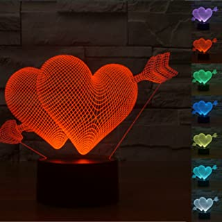 Lovely 3D Cupid's Arrow Love Heart Night Light USB Touch Switch Decor Table Desk Optical Illusion Lamps 7 Color Changing Lights LED Table Lamp Xmas Home Love Brithday Children Kids Decor Toy Gift