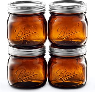 Ball Amber Glass Wide Mouth Mason Jars (16 oz/Pint) 4 Pack. With Airtight lids and Bands - Amber Canning Jar - UV light Protection - Microwave & Dishwasher Safe. + SEWANTA Jar Opener