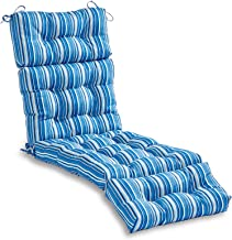 South Pine Porch AM4804-SAPPHIRE Sapphire Stripe 72-inch Outdoor Chaise Lounge Cushion
