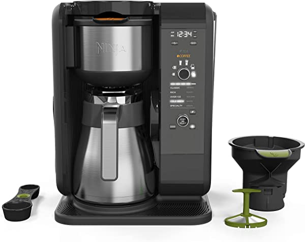Ninja Hot And Cold Brewed System Auto IQ Tea And Coffee Maker With 6 Brew Sizes 5 Brew Styles Frother Coffee Tea Baskets With Thermal Carafe CP307