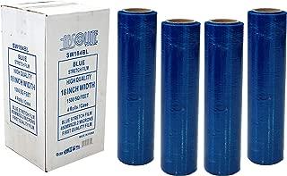 Absolute USA SW184BL 4 Original Rolls Blue Hand Stretch Plastic Film Pallet Shrink Wrap 18
