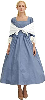Woman's Pioneer Costume Colonial Dress Lace Sleeve Prairie Outfit Daily Clothes with Shawl/Without (5 Colors Option)