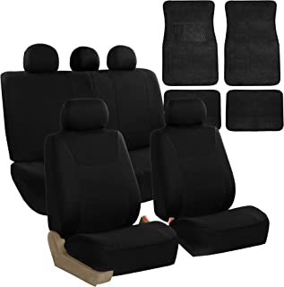 FH Group FH-FB030115 Light & Breezy Cloth Seat Cover Set Airbag & Split Ready with Carpet Floor Mats Solid Black - Fit Most Car, Truck, SUV, or Van
