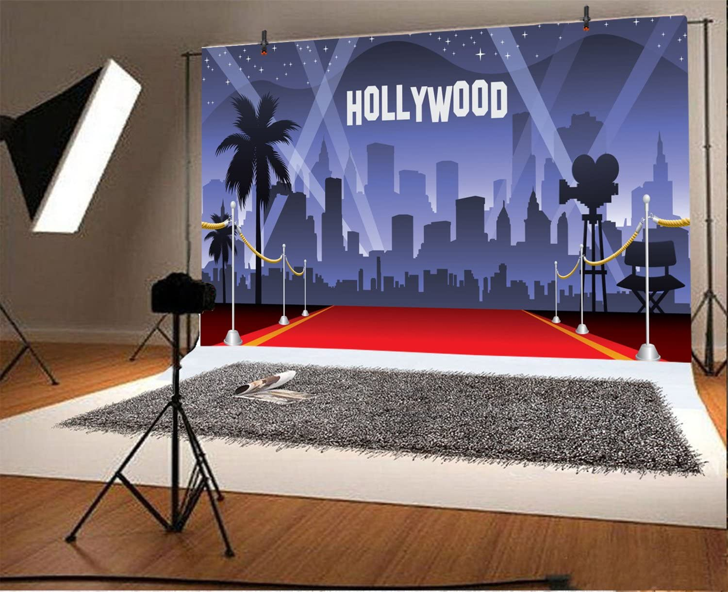 Leowefowa 10x8ft Hollywood Backdrop for Birthday Party Oscar Night of Film Hollywood Award Ceremony Red Carpet Vinyl Photography Background Children Baby Bday Banner 18th 21th Bday Photo Booth Props
