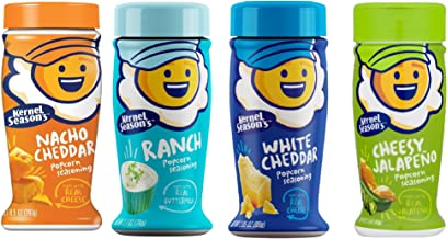 Kernal Season's Popcorn Seasoning 4 Flavor Variety Pack: 1 White Cheddar (2.85oz), 1 Nacho Cheddar (2.85oz), 1 Cheesy Jalapeno (2.4oz), and 1 Ranch (2.7oz)