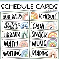 Daily Classroom Schedule Cards Boho Rainbow Theme Editable