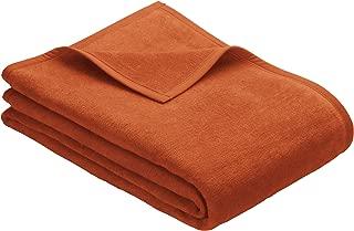 IBENA Plush Solid Color Cotton Blend Queen Bed Blanket Porto - Burnt Orange