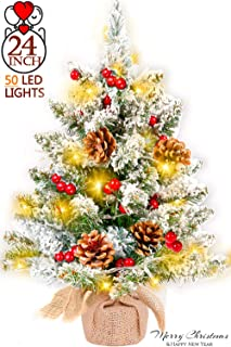 24 Inch Tabletop Christmas Tree Snow Flocked Artificial Mini Xmas Pine Tree with 50 Clear LED Lights, Pine Cones, Red Berries Battery Operated Christmas Tree for Xmas Indoor Outdoor Home Decor