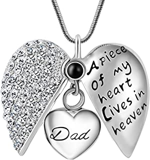 Mens Novelty Jewelry,A Piece of My Heart in Heaven Cremation Memorial Ash Urn Pendant Necklace for Keepsake