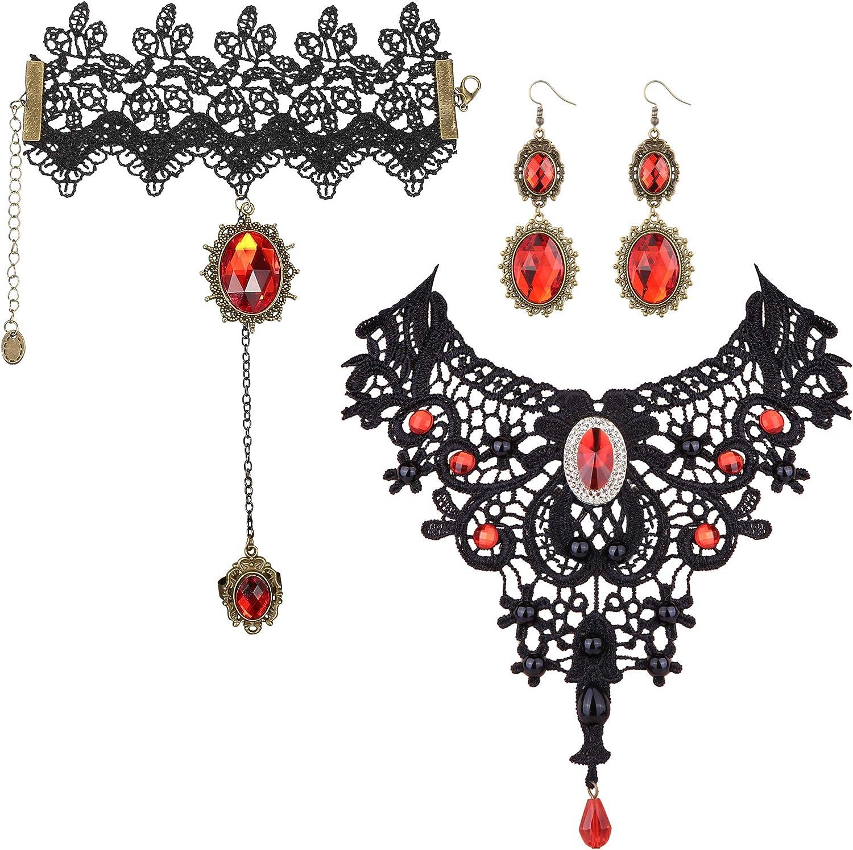 ORAZIO Halloween Necklace Bracelet Earrings for Women Black Lace Lolita Steampunk Vampire Victorian Gothic Costume Jewelry Set