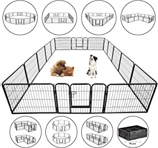 VIAGDO Dog Pen RV Dog Fence Playpens for Dogs, Heavy Duty Pets Playpen Indoor Outdoor Foldable Metal Dog Exercise Pens Cat Chicken Rabbit Puppy Fence Barrier Kennel, 16 Panels/8 Panels