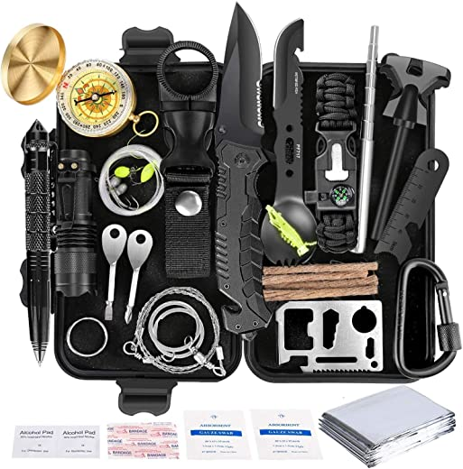Survival Kit 35 in 1 Gears Gift, for Men & Women, for Dad, Boyfriend,Husband,Tools Hunting, Fishing, Compass Lead Way, Gadget, Included Sharp Knife, Firestarter