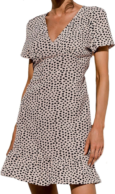 Aritone Summer Dresses for Women 2021, Women's V-Neck Short Sleeve Print Slim Sexy Casual Beach Style Mini Dress Sundress c