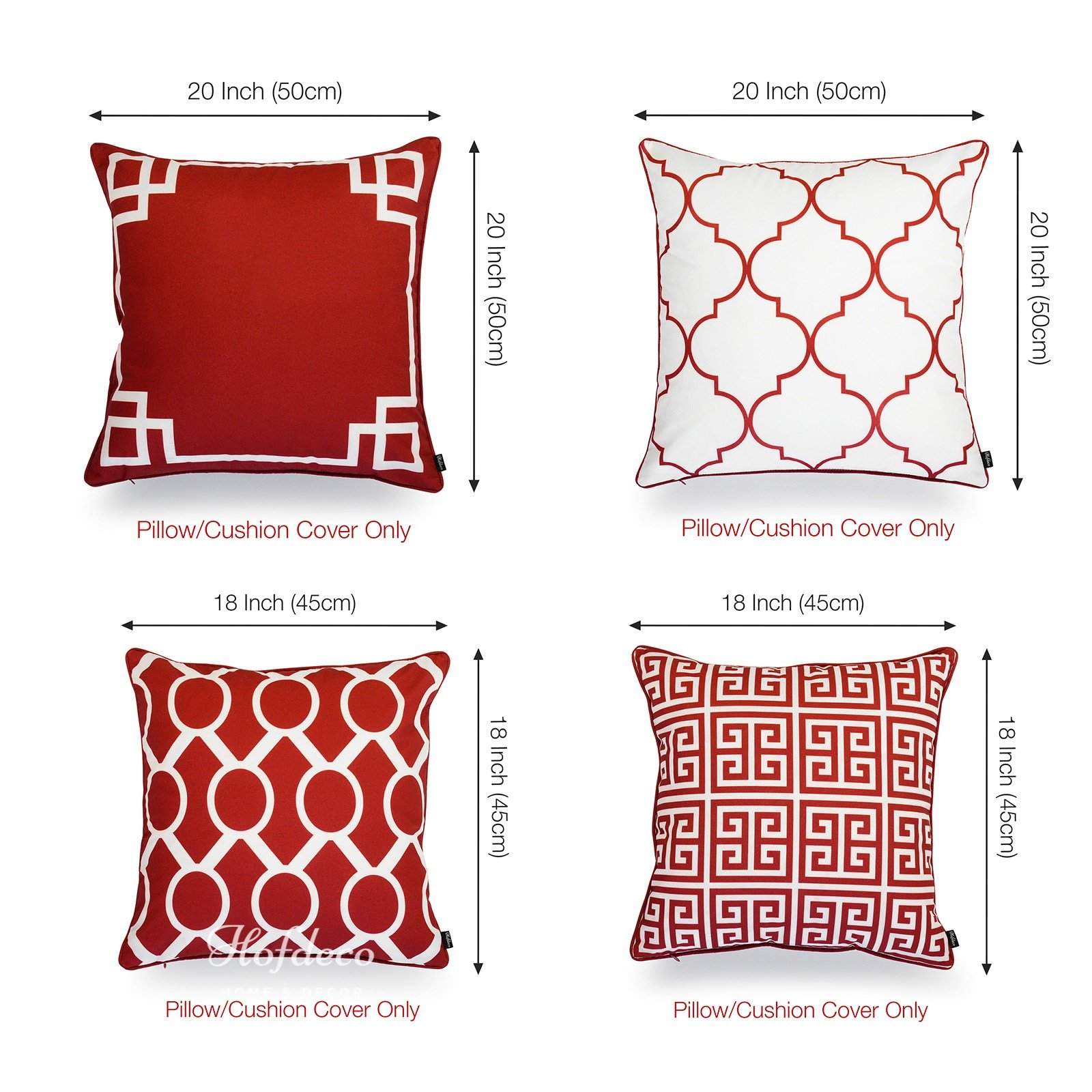 Hofdeco Valentine Indoor Outdoor Pillow Cover Only Water Resistant For Patio Lounge Sofa Red White Greek Key Moroccan Chain 18 X18 20 X20 Set Of 4 Home Kitchen Amazon Com