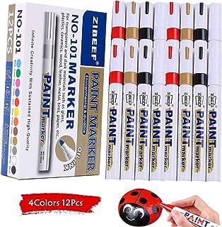 أقلام تلوين تعتمد على الزيت، أسود، أبيض، ذهبي، أحمر للأحجار الصخور، سيراميك، معدن، زجاج، يقطين الهالووين، خشب، قماش، بلاست...