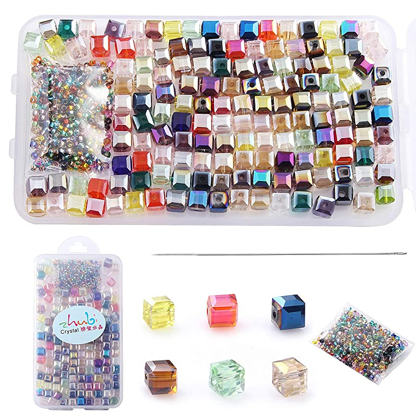 Multicolor AB Crystal Beads Square Glaze Glass Bead Quartz Loose Beads 6MM Cube Beads 150pcs for Bracelets Necklaces, with 200pcs Glass Seed Beads into a Storage Box,ZHUBI